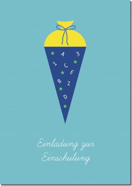 Postkarte Einladung Schultüte blau