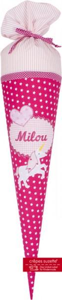 Schultüte mit Namen Einhorn Milou - Crepes Suzette