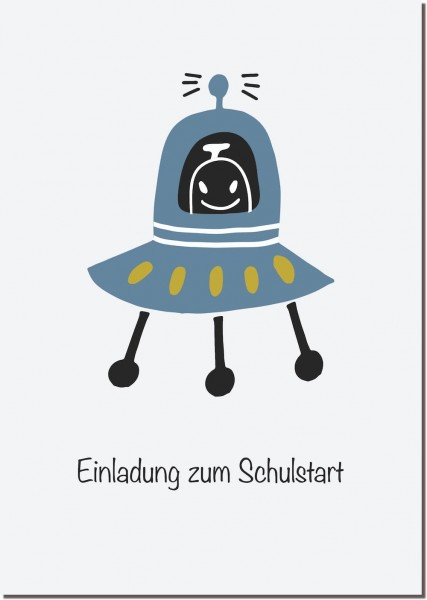 Postkarte Einladung Rakete