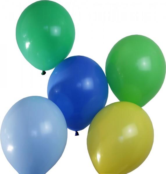 Luftballon Set hellgrün/grasgrün/hellblau/blau/gelb