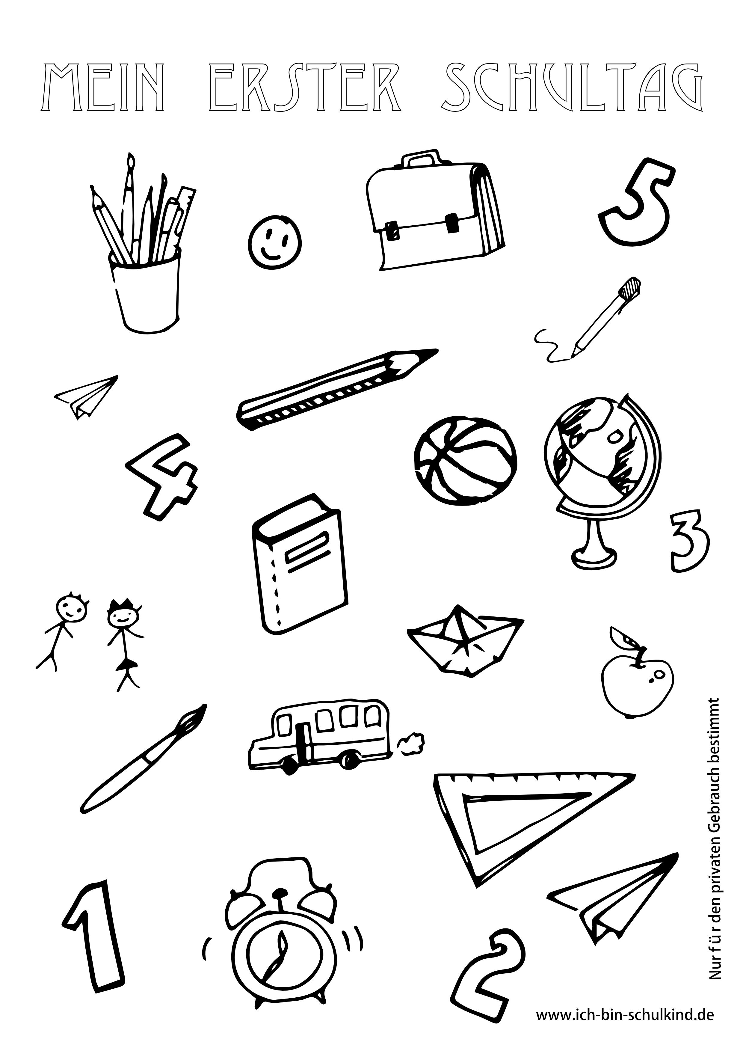 Süße Ausmalbilder zum Schulanfang > Kostenlose Malvorlagen zum