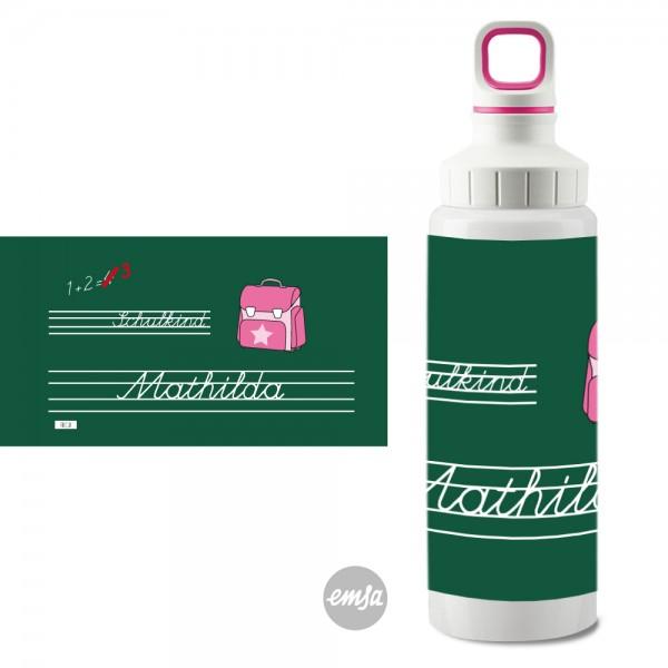 Edelstahlflasche Schule rosa Schraubverschluss mit Namen - Finlix
