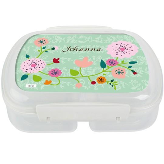 Brotdose personalisiert Floral mint - Finlix