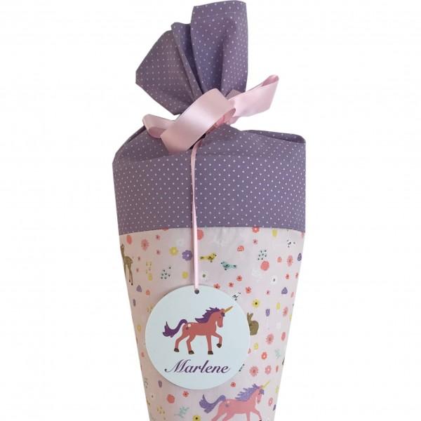 Schultüte Einhorn mit Blumen rosa mit Namensschild - Ich bin Schulkind