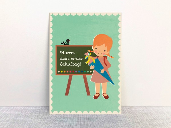 Postkarte Hurra dein 1. Schultag Mädchen mint