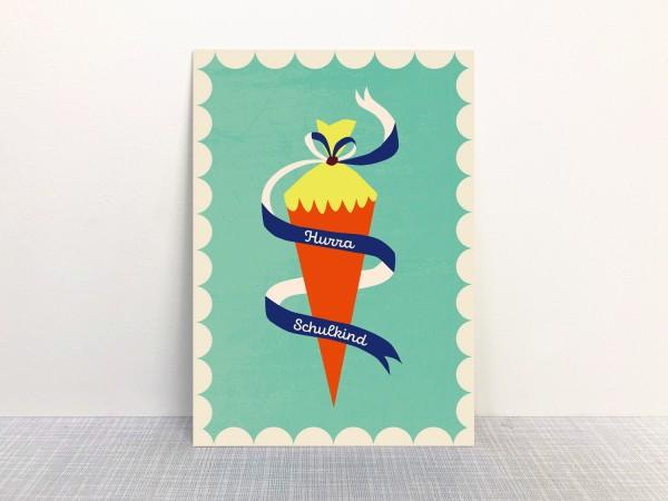 Postkarte Hurra Schulkind mint