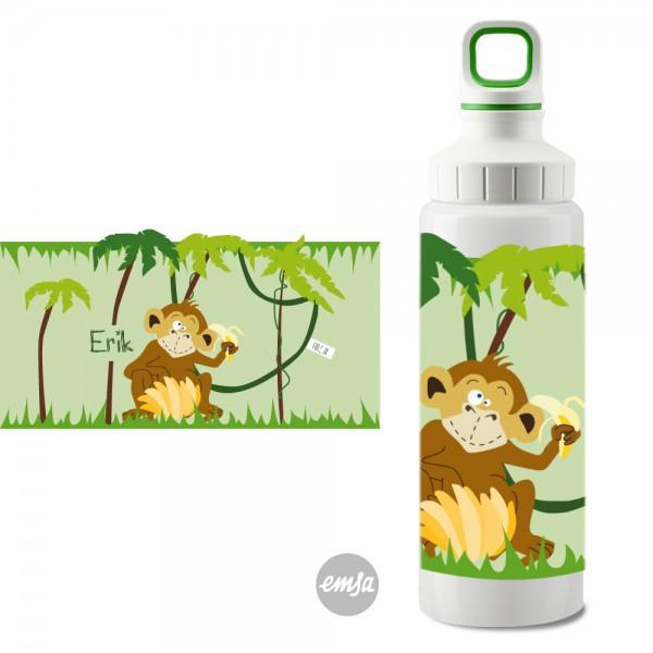 Edelstahlflasche Affe Schraubverschluss mit Namen - Finlix