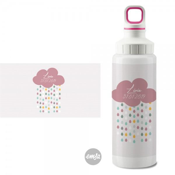 Edelstahlflasche Wolke rosa Schraubverschluss mit Namen - Finlix