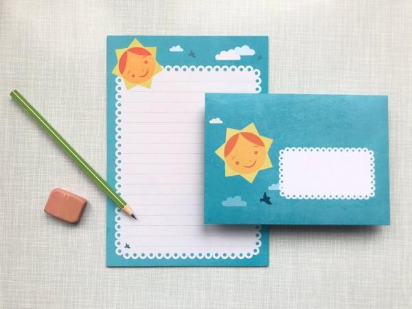 Briefpapier Sonne blau