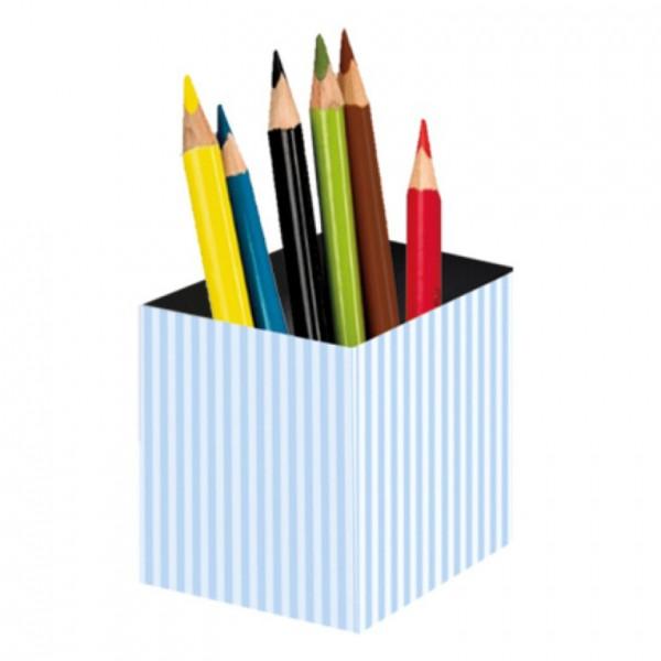 Little Paper Stiftebecher hellblau Streifen