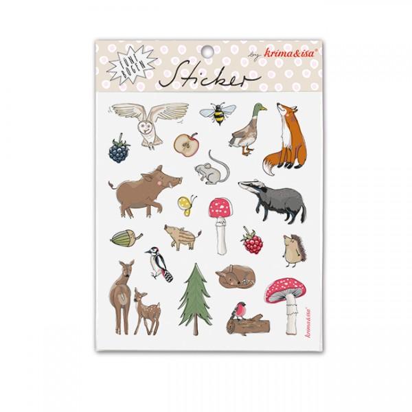 Sticker Set Waldtiere