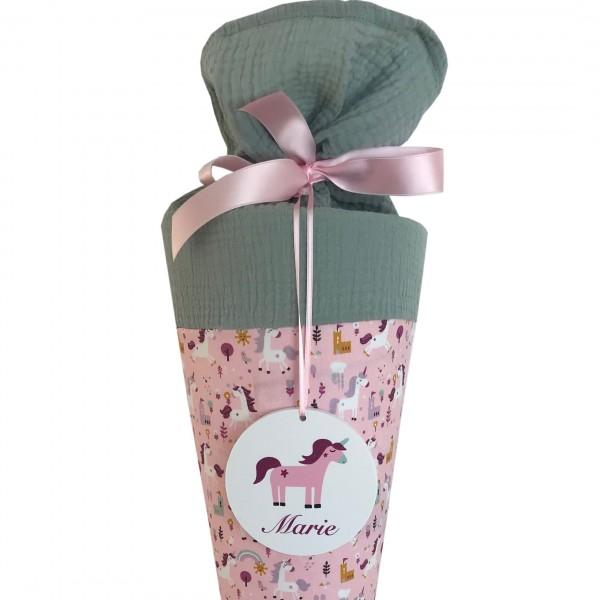Schultüte Einhorn rosa mit Namensschild - Ich bin Schulkind