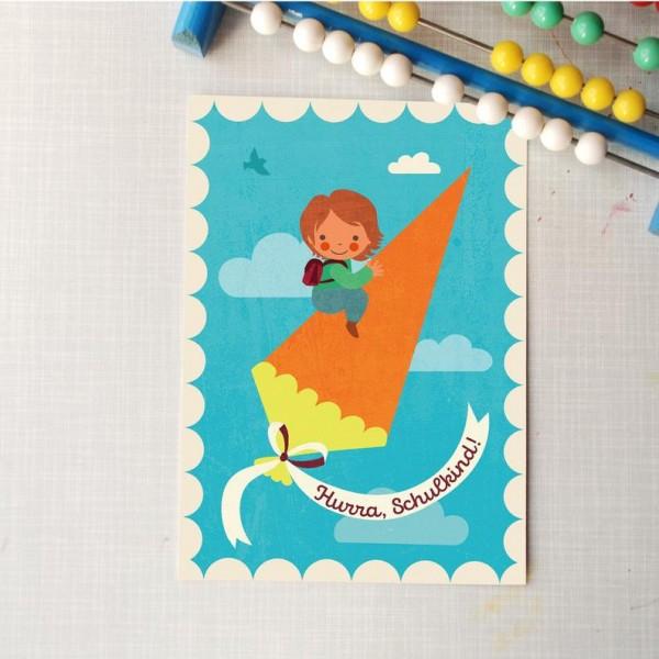 Schulrakete Postkarte Hurra Schulkind blau