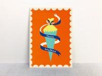Postkarte Hurra Schulkind orangerot