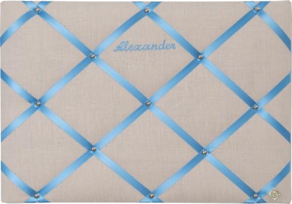 Memoboard Leinen grau/hellblau personalisiert